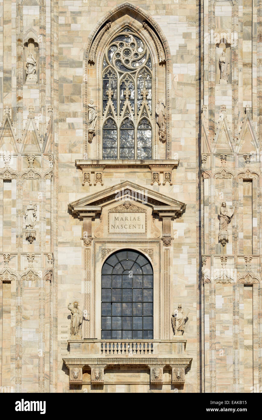 Window over the main portal of the west facade of Milan Cathedral or Duomo di Santa Maria Nascente, Milan, Lombardy, - Stock Image