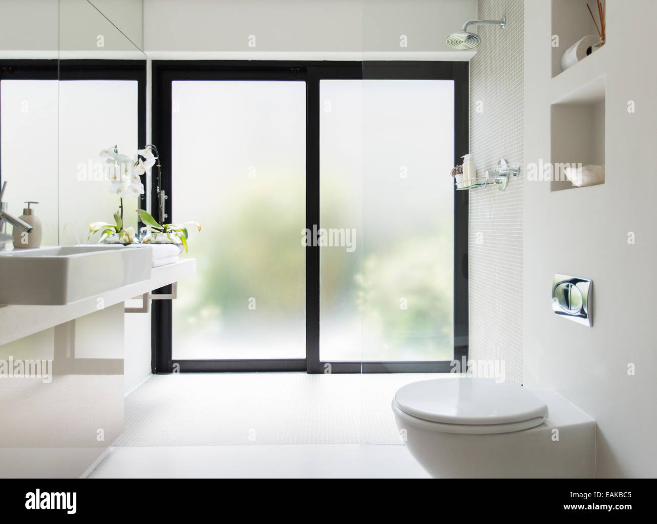 White Clean Modern Bathroom With Frosted Glass Door Stock