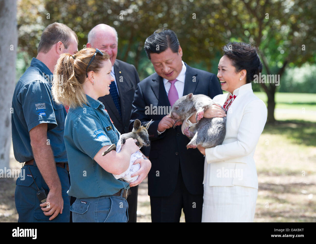 Canberra, Australia. 17th November, 2014. Chinese President Xi Jinping (2nd R), his wife Peng Liyuan (R), holding - Stock Image