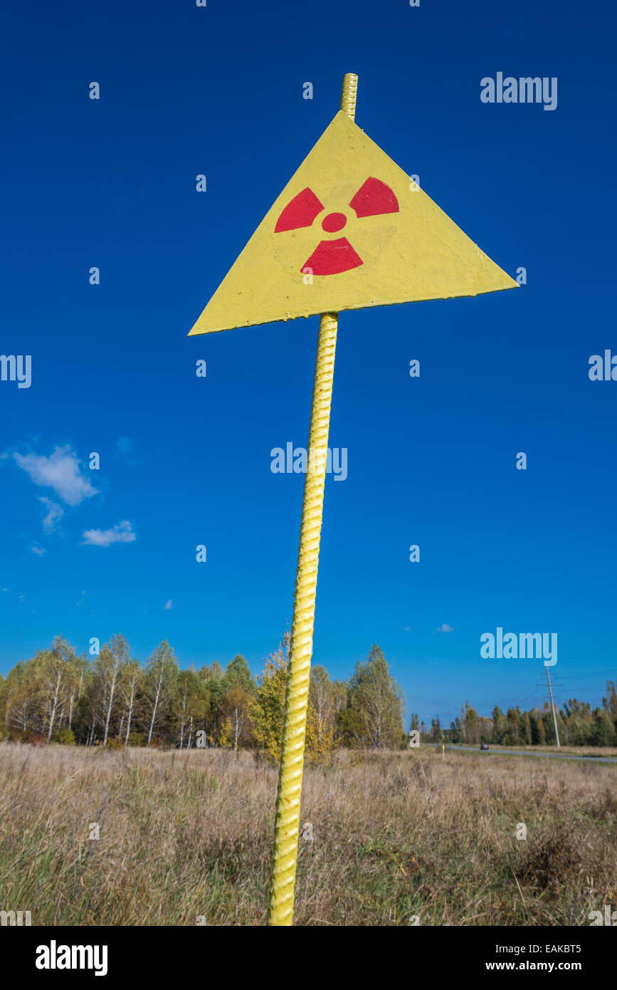 Radiation sign near Red Forest in Chernobyl Nuclear Power