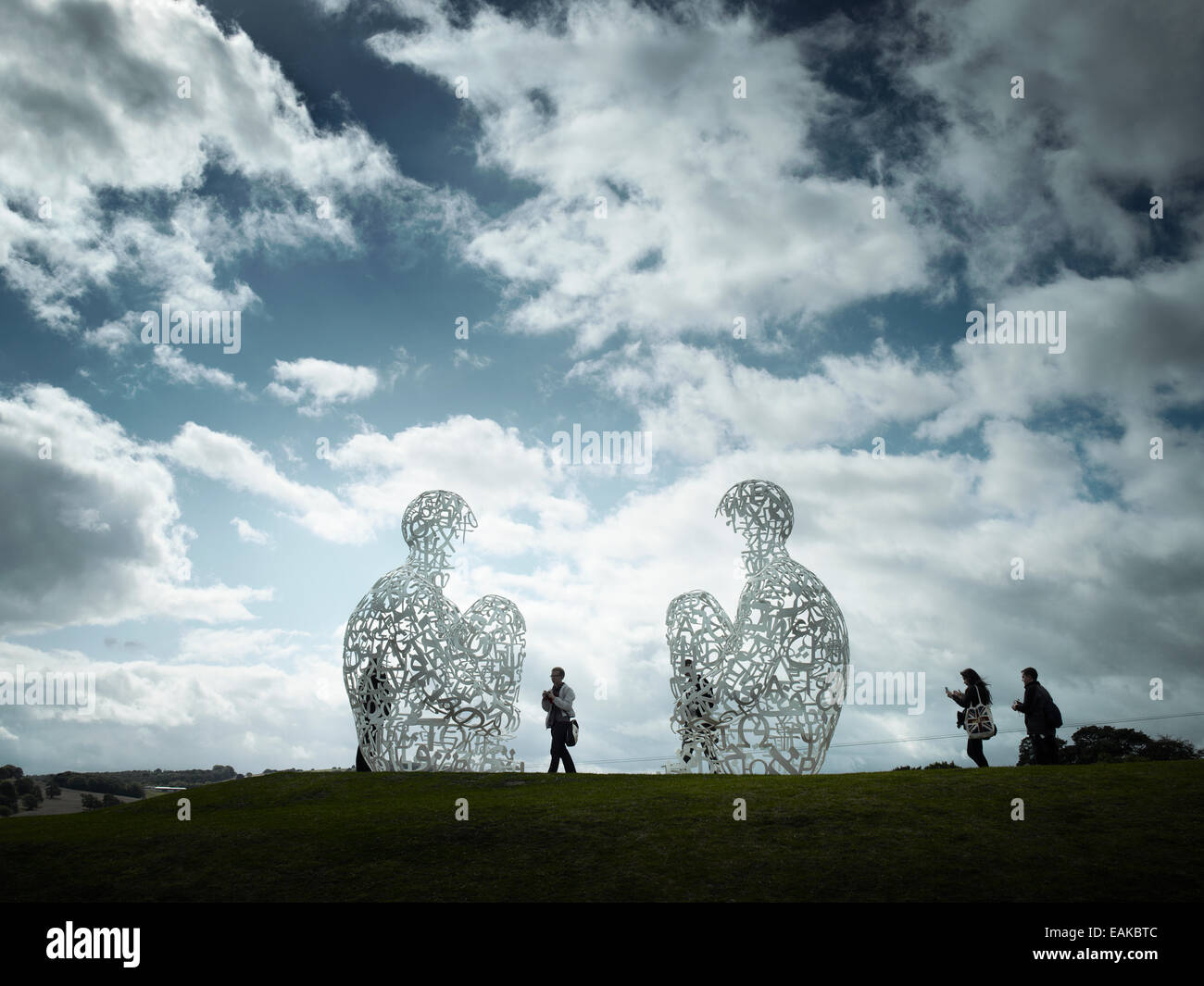 Jaume Plensa sculpture at Yorkshire sculpture Park Wakefield from a large scale exhibition of his work. - Stock Image