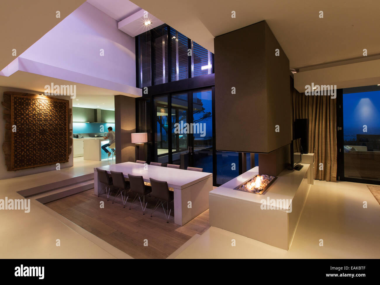 modern mansion dining room. Dining Area In Modern House At Night, Man Kitchen Background Mansion Room S
