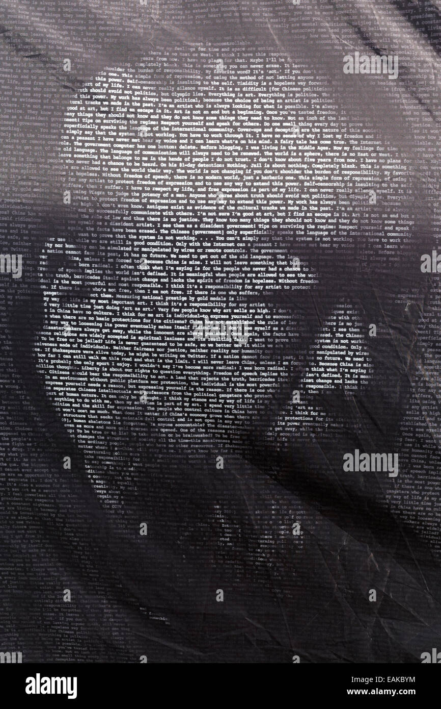 Typographic portrait of the Chinese artist Ai Weiwei, printed on a tent, Emscherkunst 2013, open air art exhibition, - Stock Image
