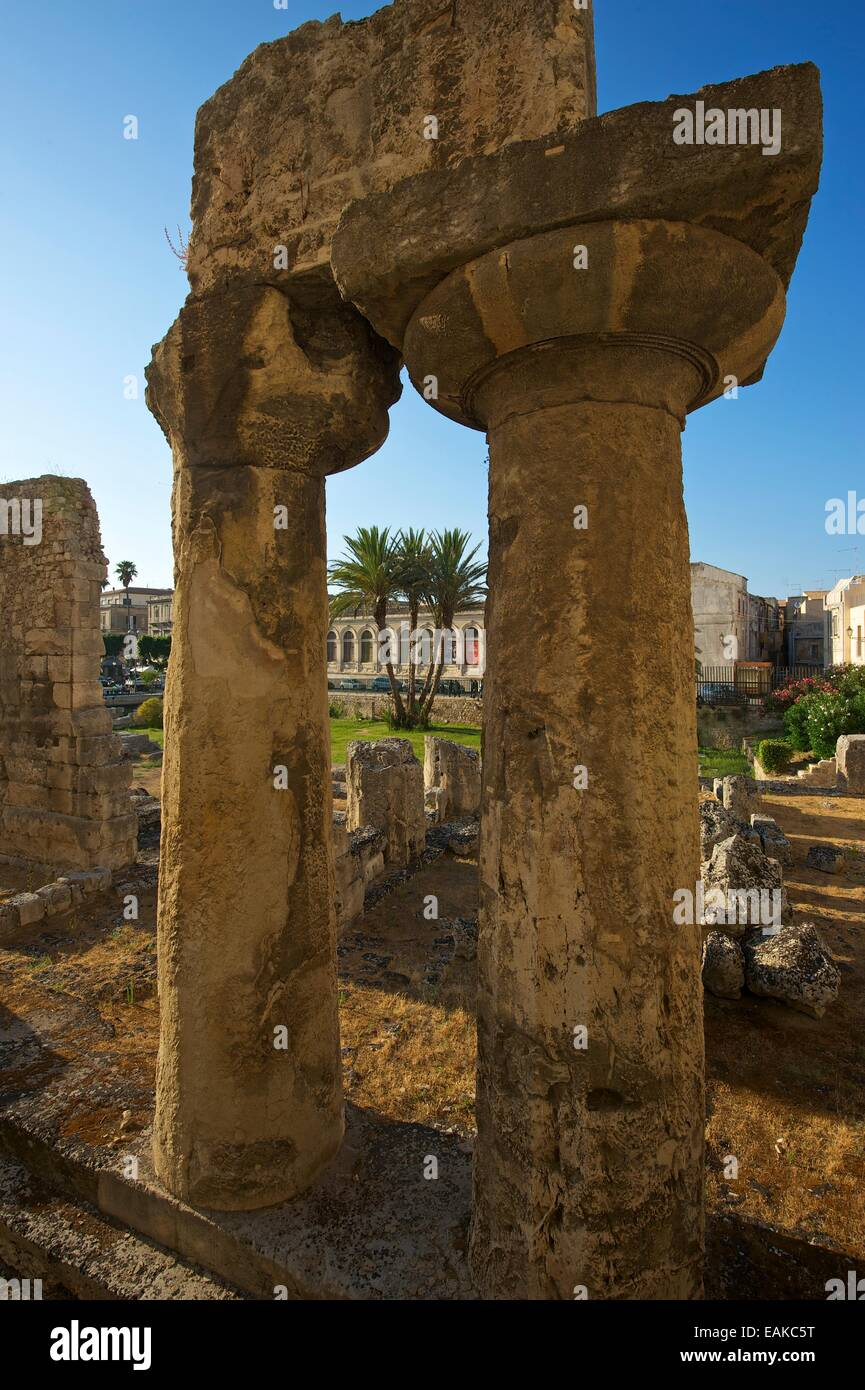 Temple of Apollo in the historic town centre, Ortygia, Syracuse, Province of Syracuse, Sicily, Italy - Stock Image