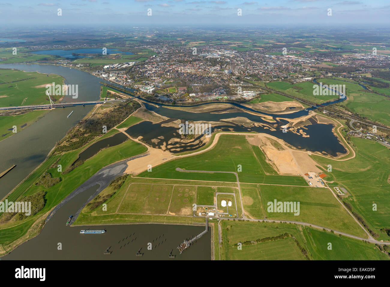 Reconstruction of the Lippe River joining the Rhine River, port of Wesel, restoration, aerial view, Wesel - Stock Image
