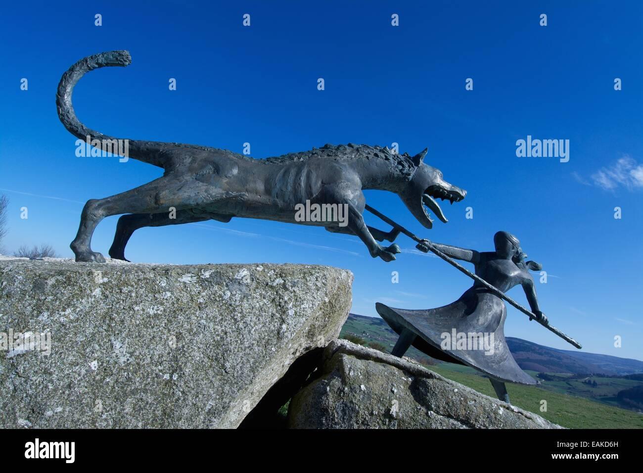 Monument of the Beast of Gevaudan, village of Auvers, Gévaudan, Margeride mountain, Haute Loire, Auvergne, France, - Stock Image