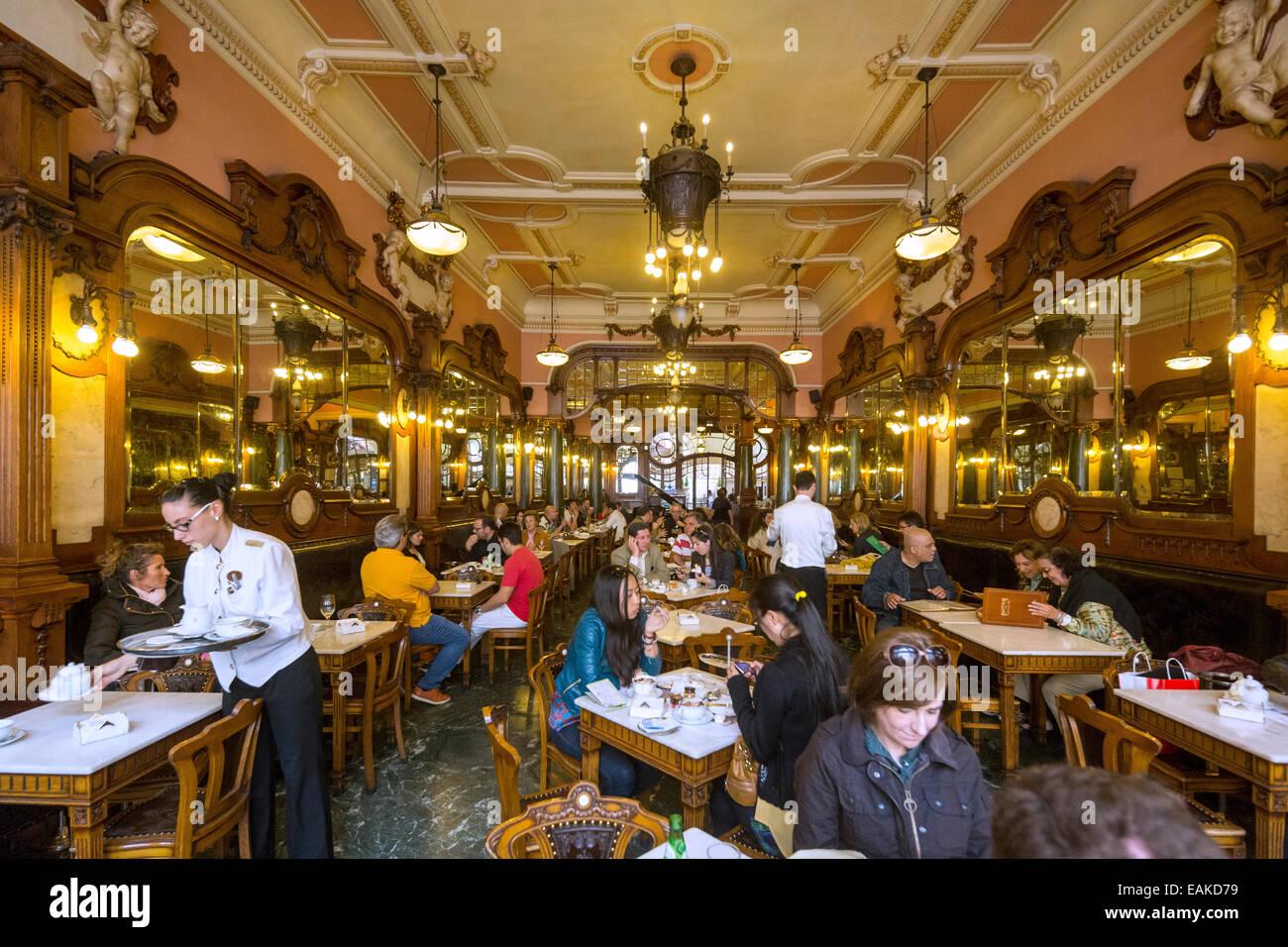 Café Majestic, Art Nouveau cafe, tavern, restaurant dining, Porto, District of Porto, Portugal - Stock Image