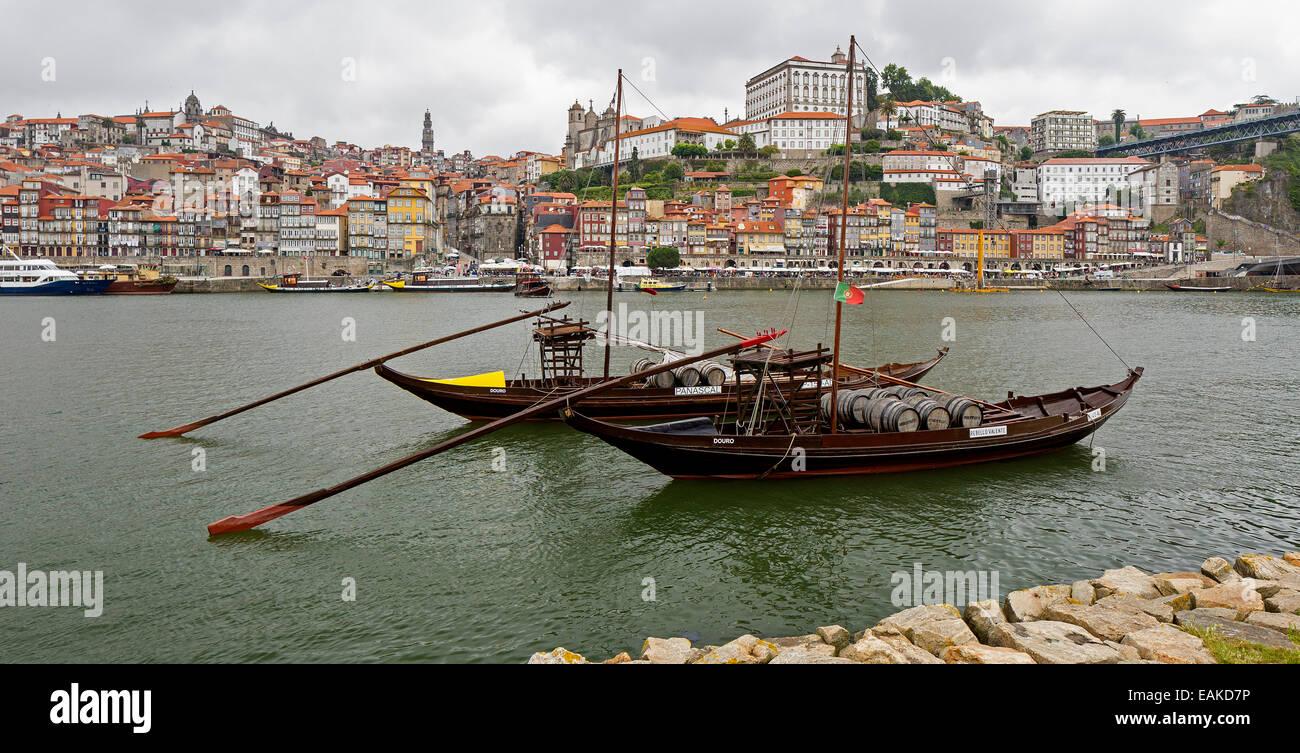 Historic wine transport ships on the Douro River, Vila Nova de Gaia, District of Porto, Portugal - Stock Image