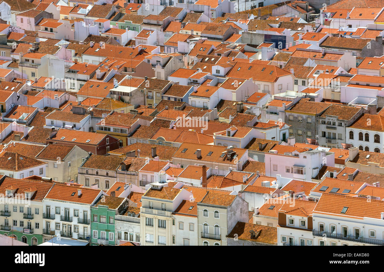 View over the red tiled roofs of Nazaré, Nazaré, Leiria District, Portugal - Stock Image