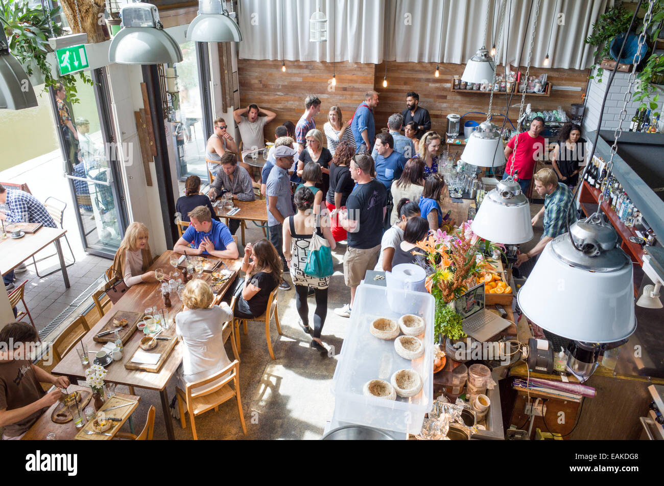 Ribeira cafe and restaurant on the towpath of the Regent's Canal, Shoreditch, Hackney, London, England, UK - Stock Image