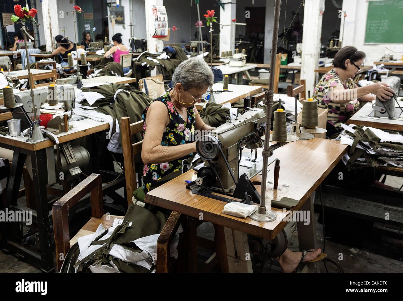 Seamstresses in a clothing factory, Viñales, Cuba - Stock Image