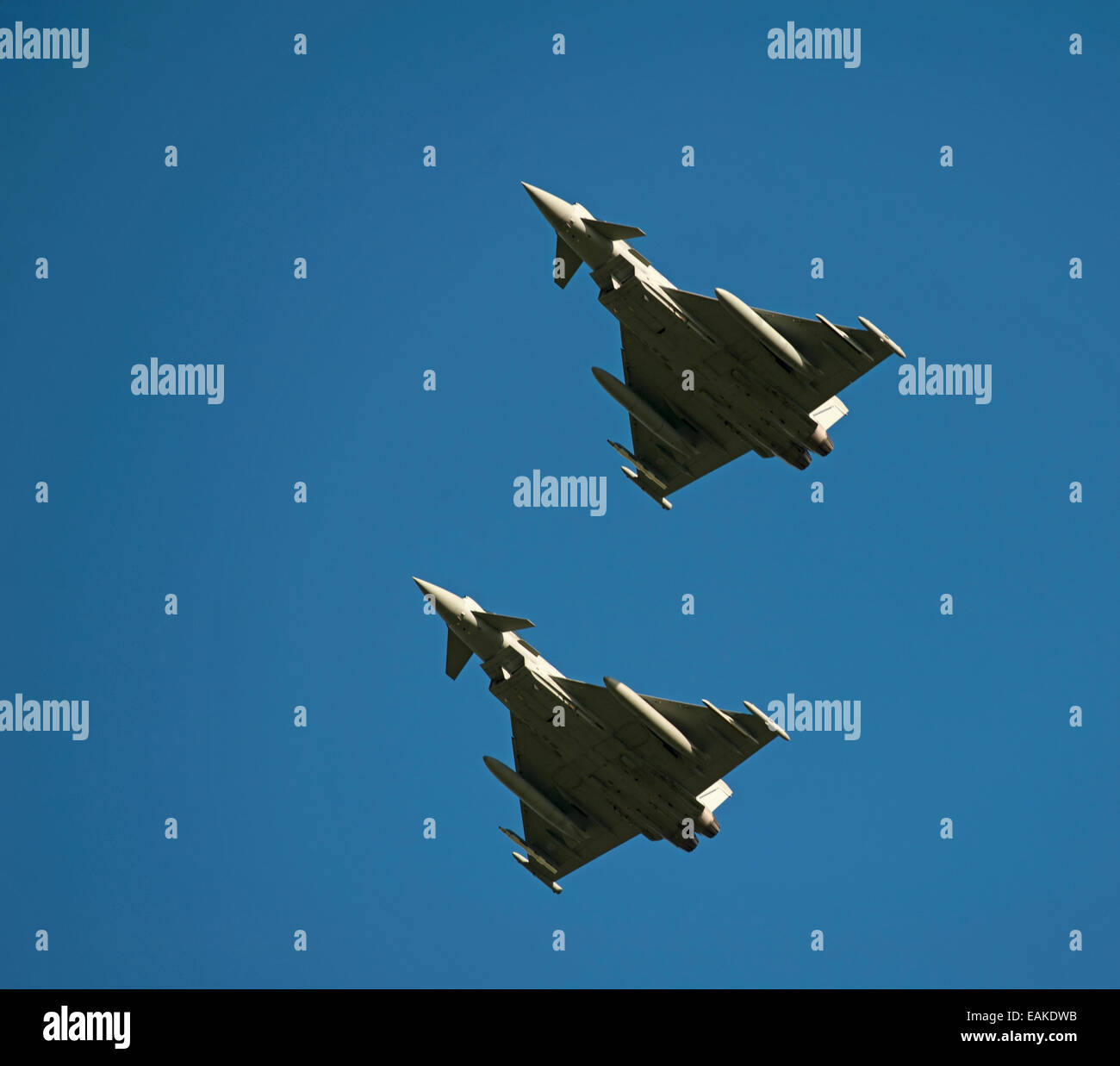 Paired flypast, Eurofighter Typhoon FRG4s on approach to RAF Lossiemouth, Morayshire.  SCO 9152 - Stock Image