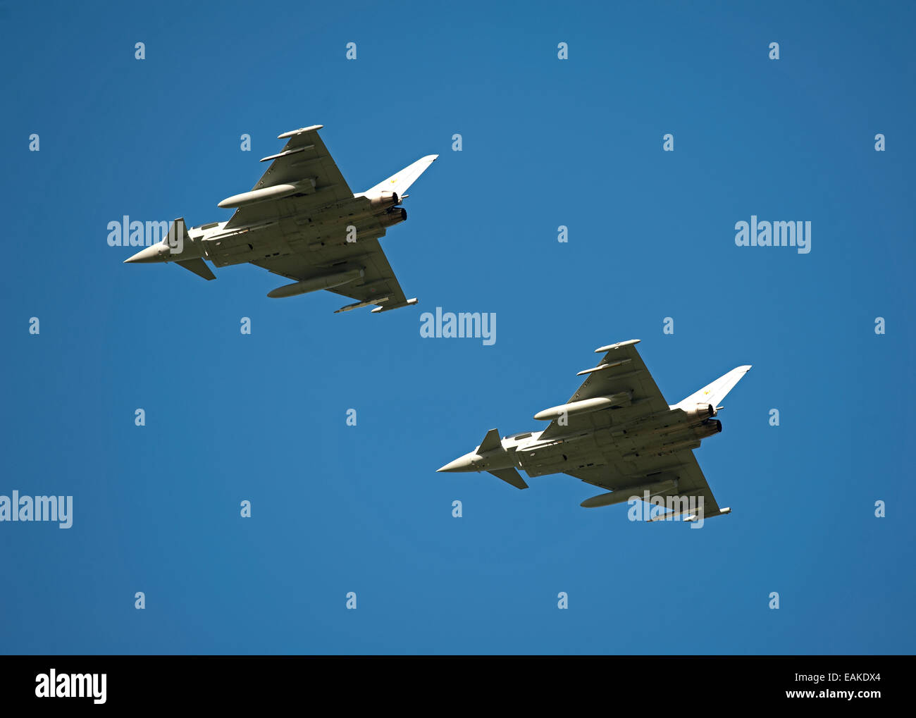 Paired flypast, Eurofighter Typhoon FRG4s on approach to RAF Lossiemouth, Morayshire. SCO 9153 - Stock Image