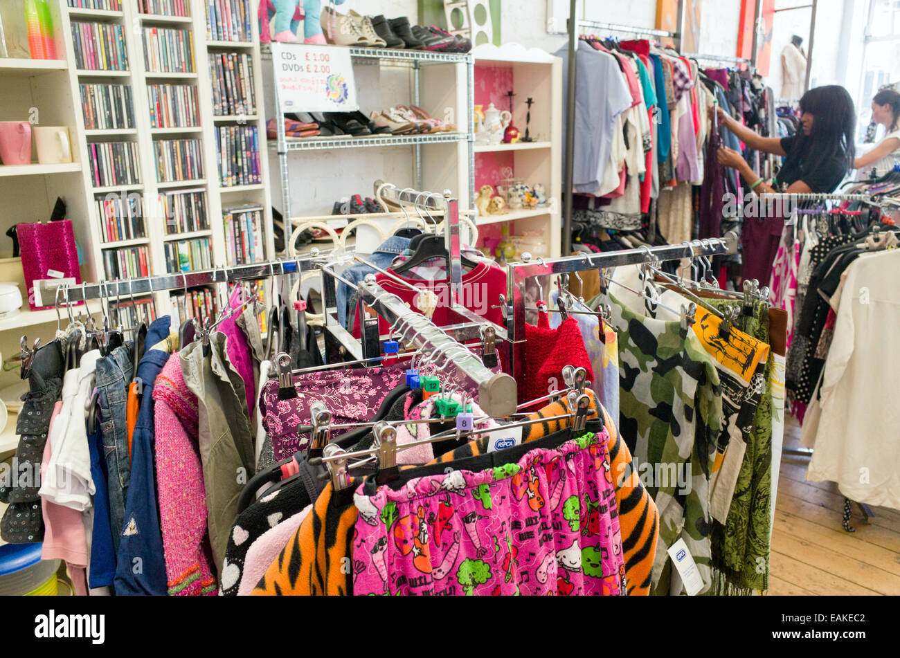 Secondhand clothes in the RSPCA charity shop, London, UK - Stock Image