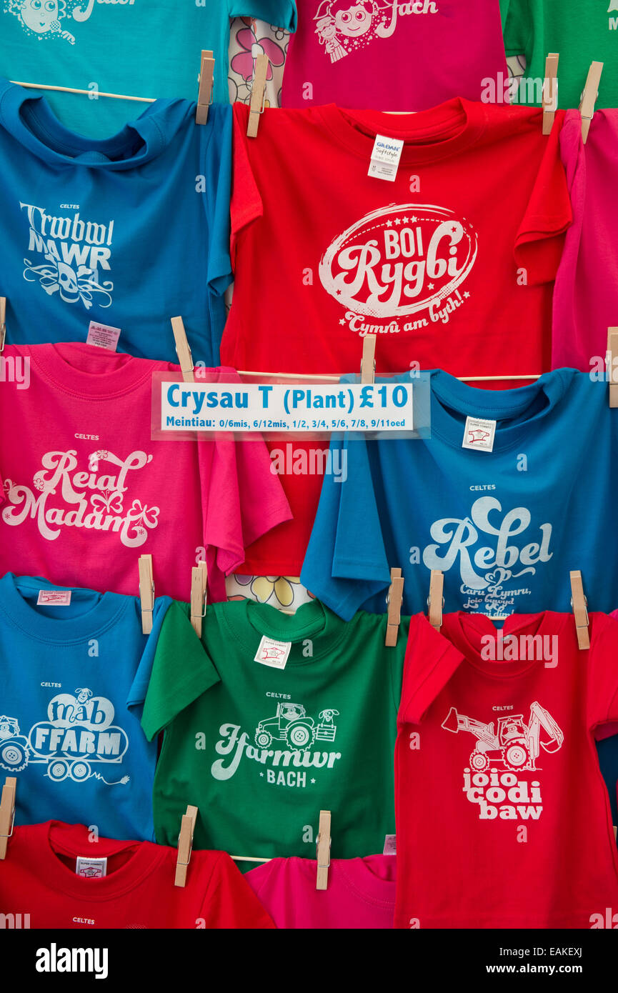 f29032692 A stall selling Welsh language branded t-shirts and sweatshirts clothes  clothing at the National