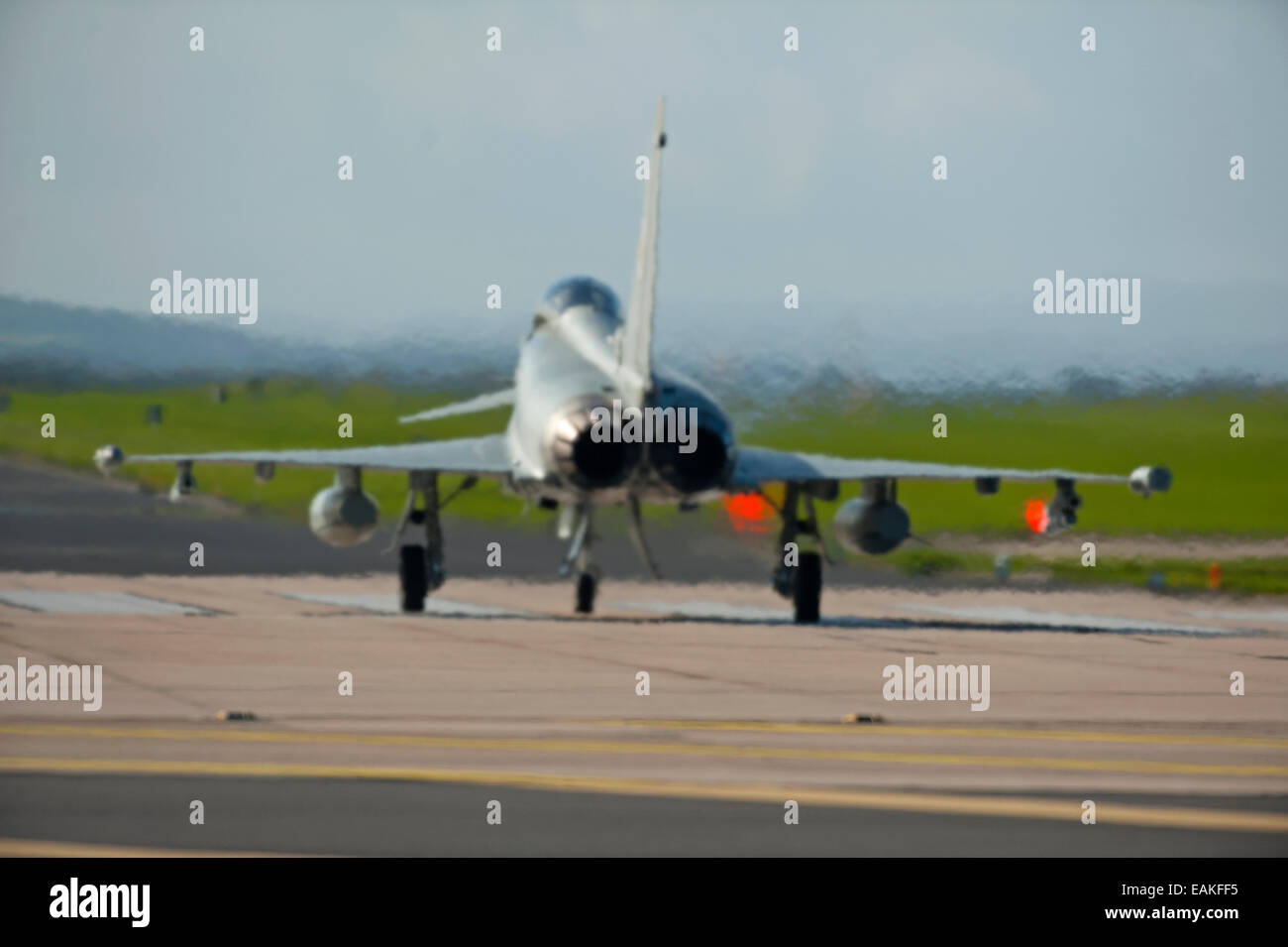 Ready for take off Eurofighter Typhoon FRG4 at RAF Lossiemouth, Morayshire.  SCO 9159 Stock Photo