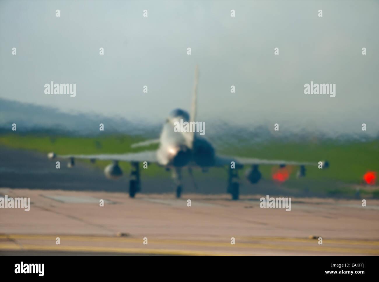 Preparing for take off Eurofighter Typhoon FRG4 at RAF Lossiemouth, Morayshire.  SCO 9160 Stock Photo