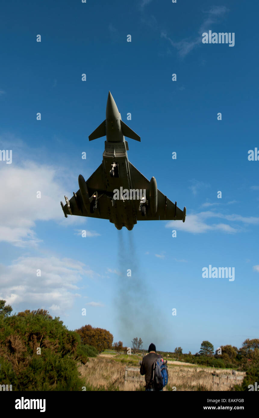 Eurofighter Typhoon FRG4 about to abort an approach to RAF Lossiemouth Airfield, Morayshire.  SCO 9162 - Stock Image