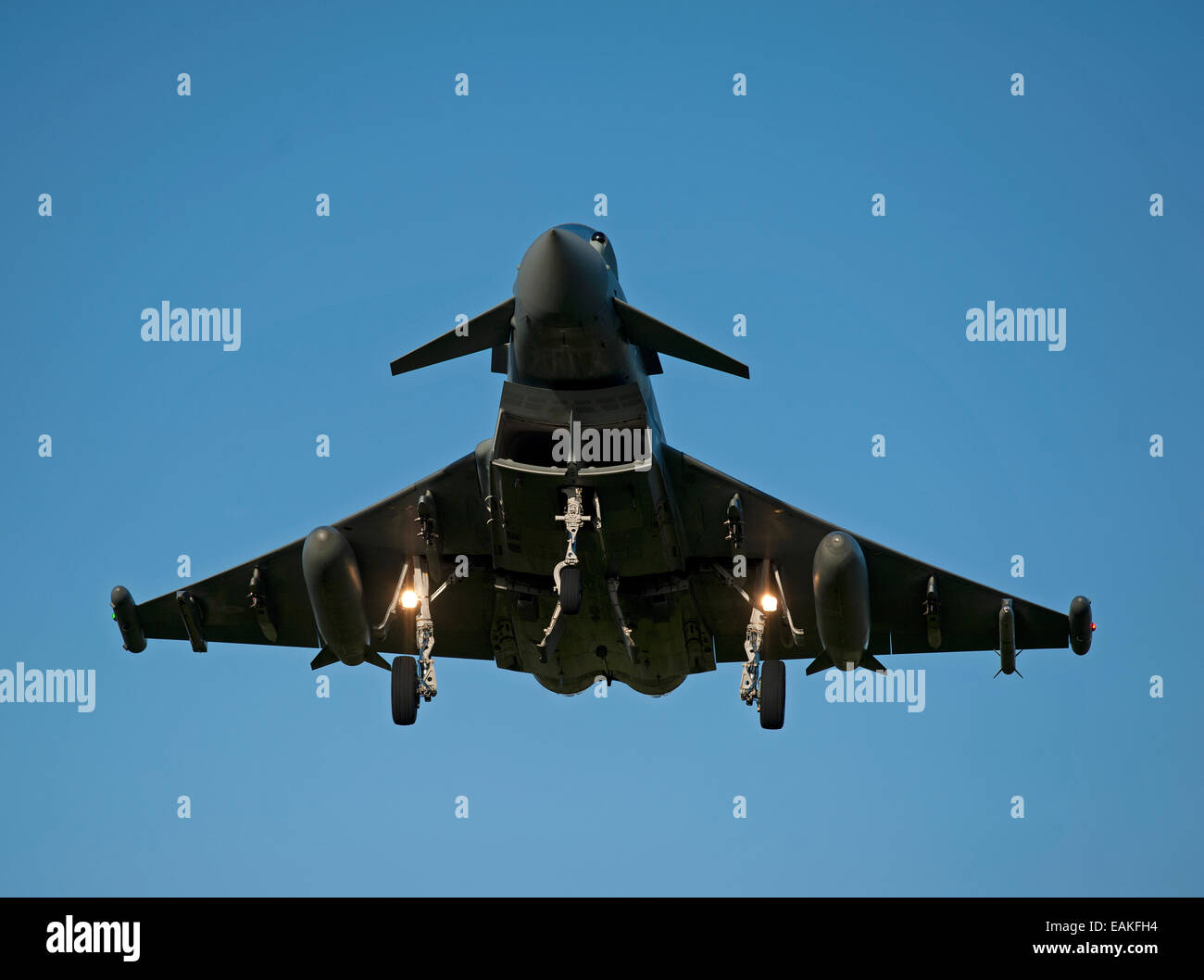 Eurofighter Typhoon FRG4 on approach to its Home Base at RAF Lossiemouth, Morayshire.  SCO 9164 - Stock Image