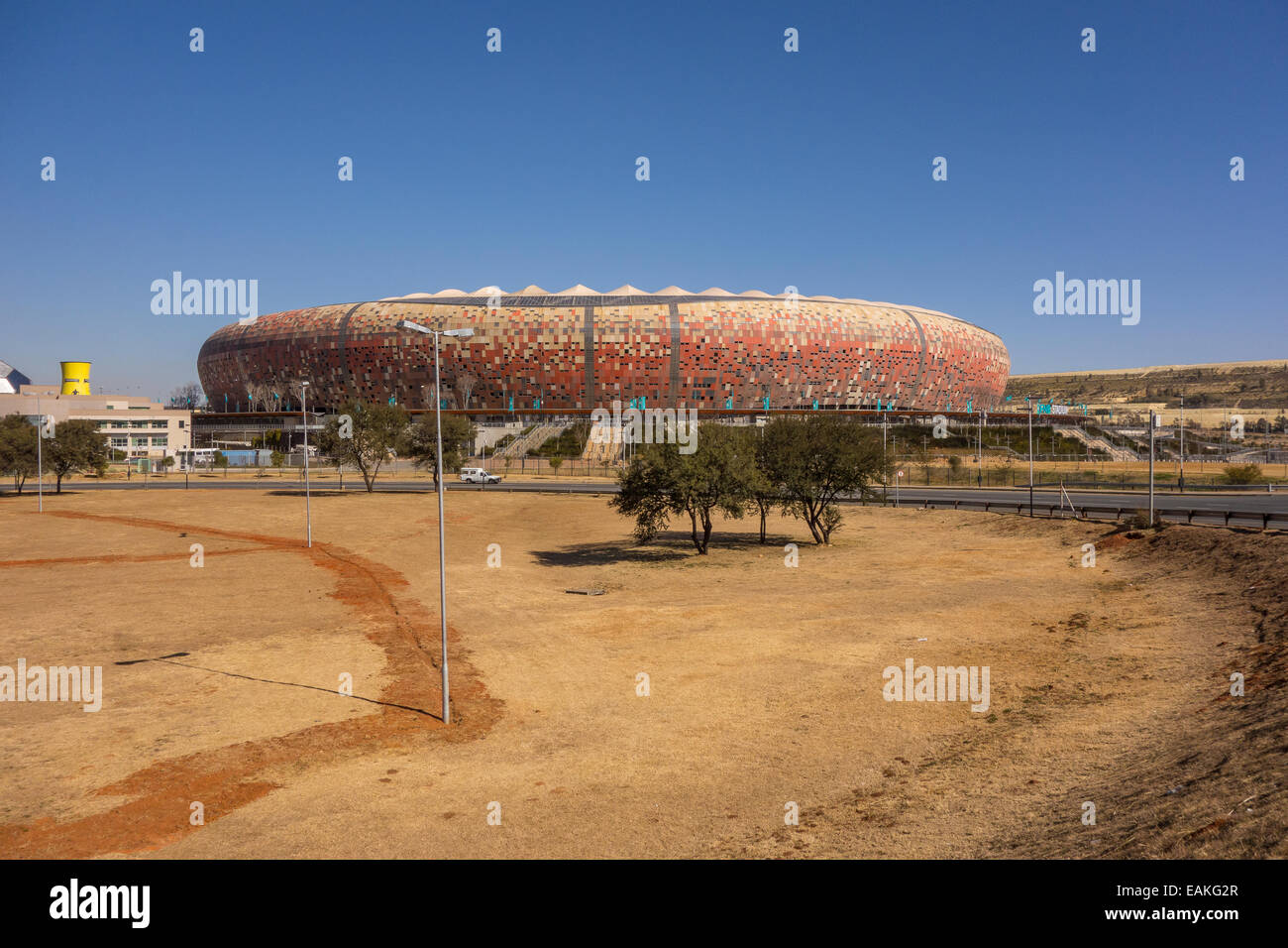 SOWETO, JOHANNESBURG, SOUTH AFRICA - FNB Stadium, aka Soccer City, a calabash-shaped football arena. - Stock Image