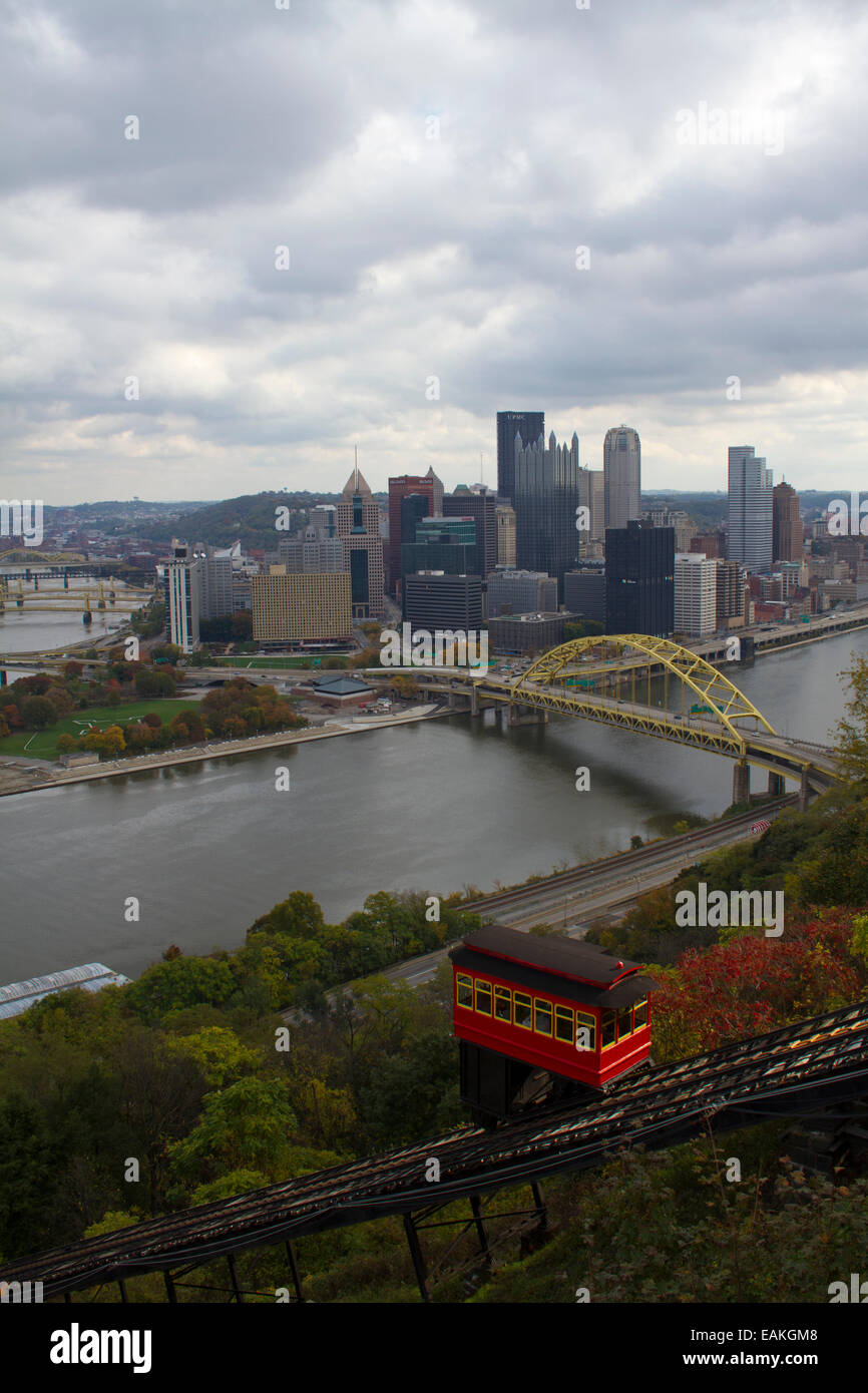 Duquesne Incline and the Monongahela River and Fort Pitt bridge in Pittsburgh, Pennsylvania from Mount Washington Stock Photo