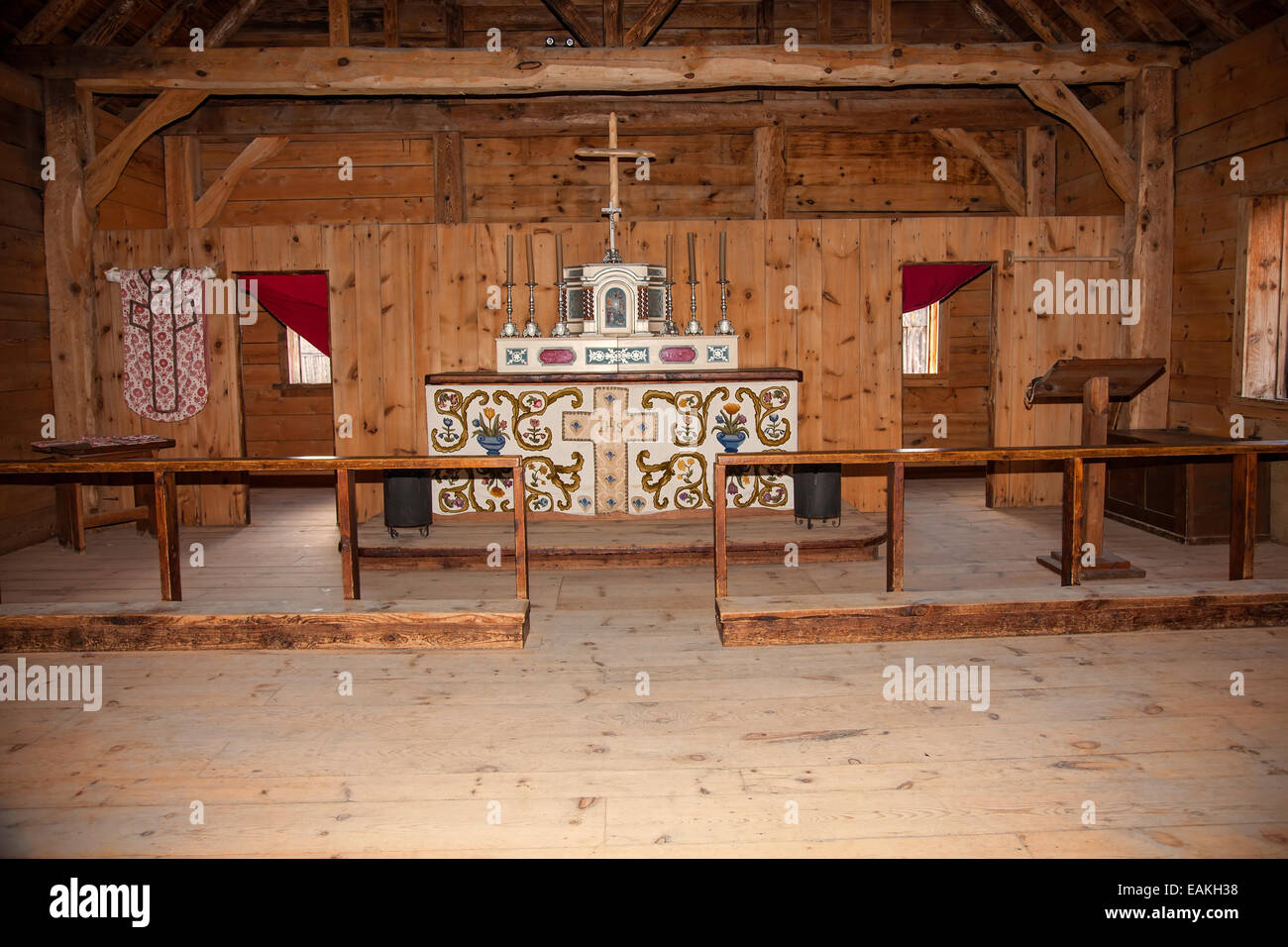 The Chapel at Sainte Marie among the Hurons;Original authentic Native American Indian Village in Midland;Ontario;Canada - Stock Image