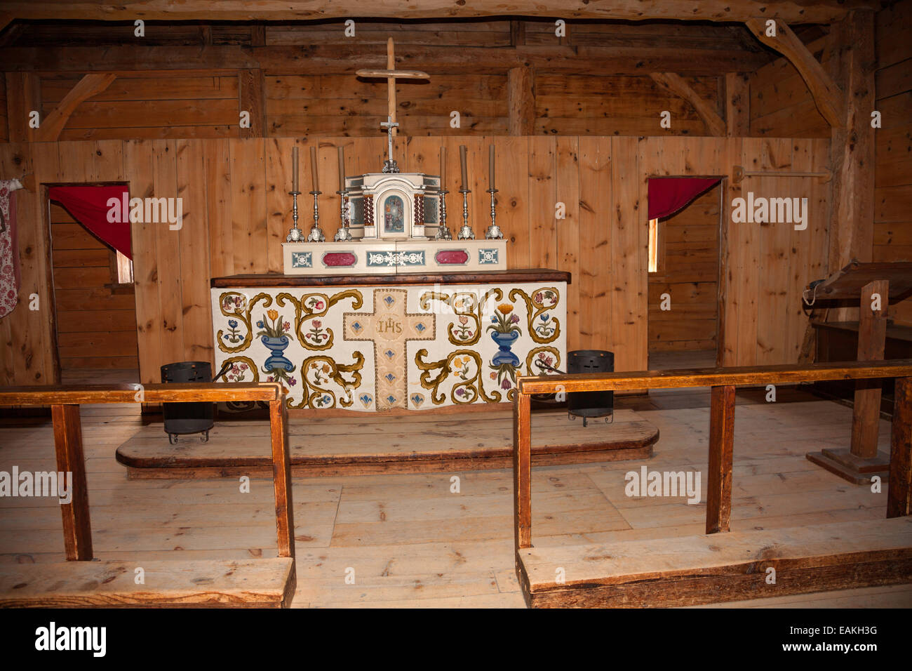 Chapel Altar at Sainte Marie among the Hurons;Original authentic Native American Indian Village in Midland;Ontario;Canada - Stock Image