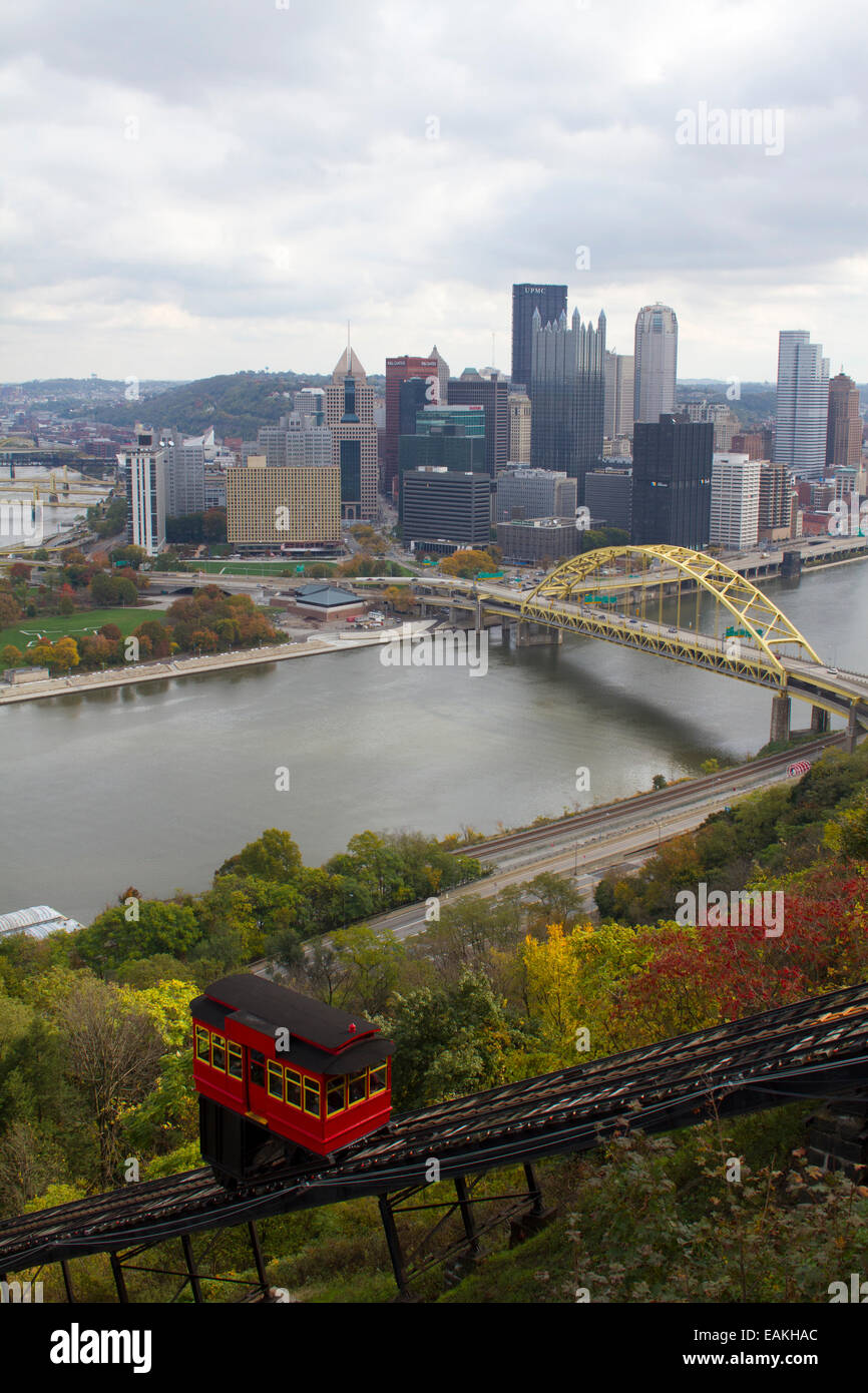 Duquesne Incline and the Monongahela River and Fort Pitt bridge in Pittsburgh, Pennsylvania from Mount Washington - Stock Image