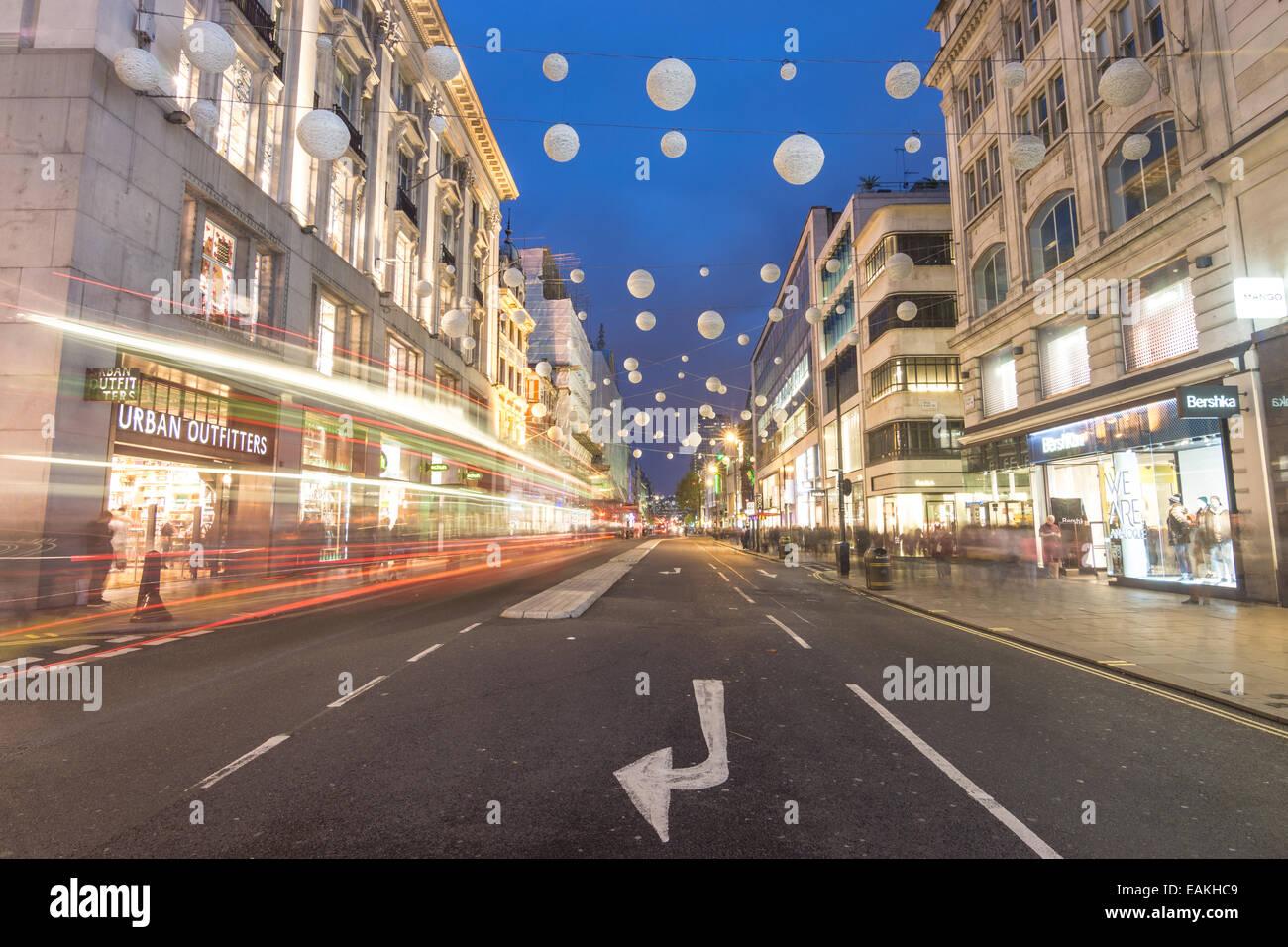 oxford street at night, London - Stock Image