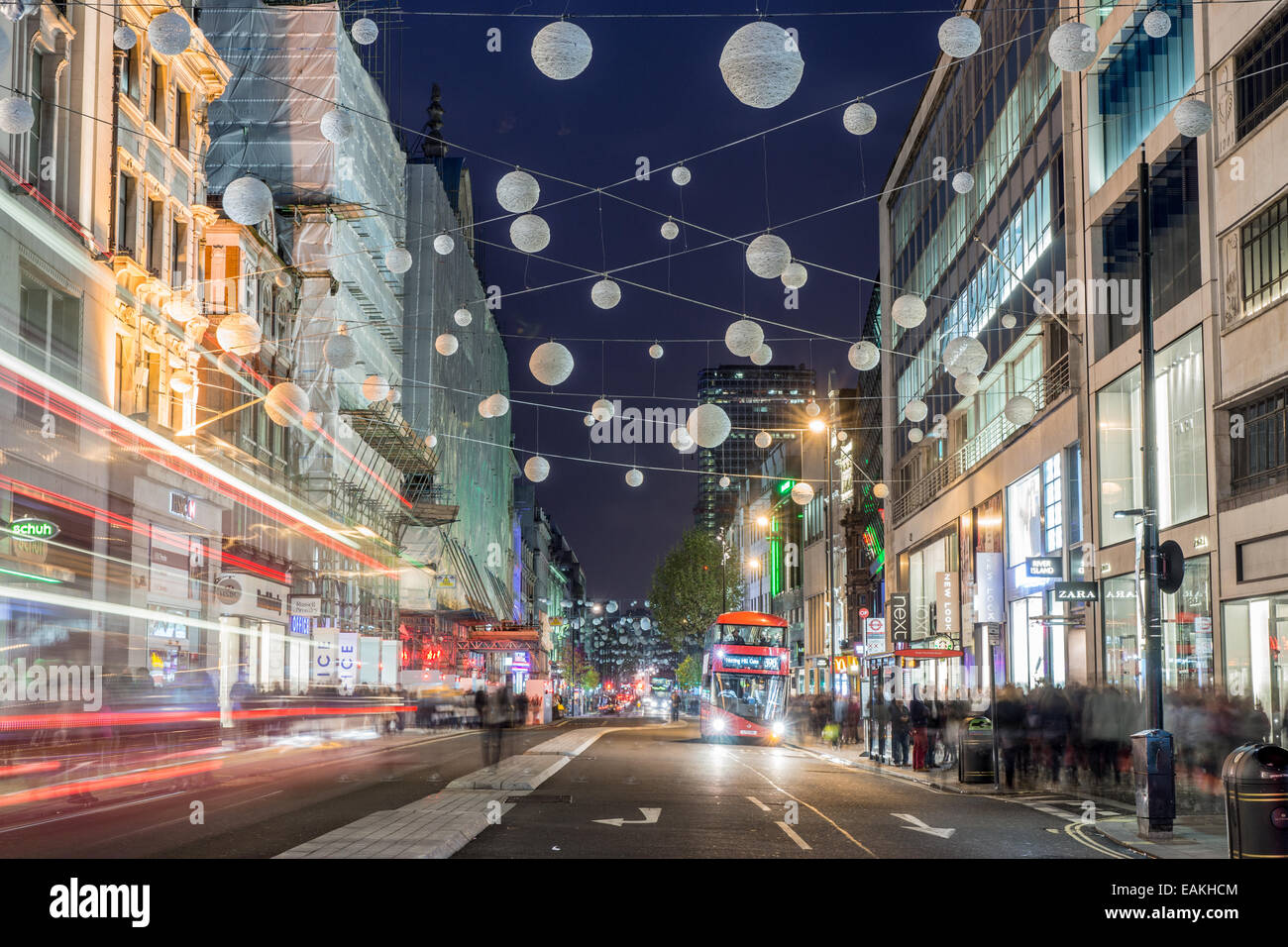 oxford street london christmas decorations stock image - London Christmas Decorations