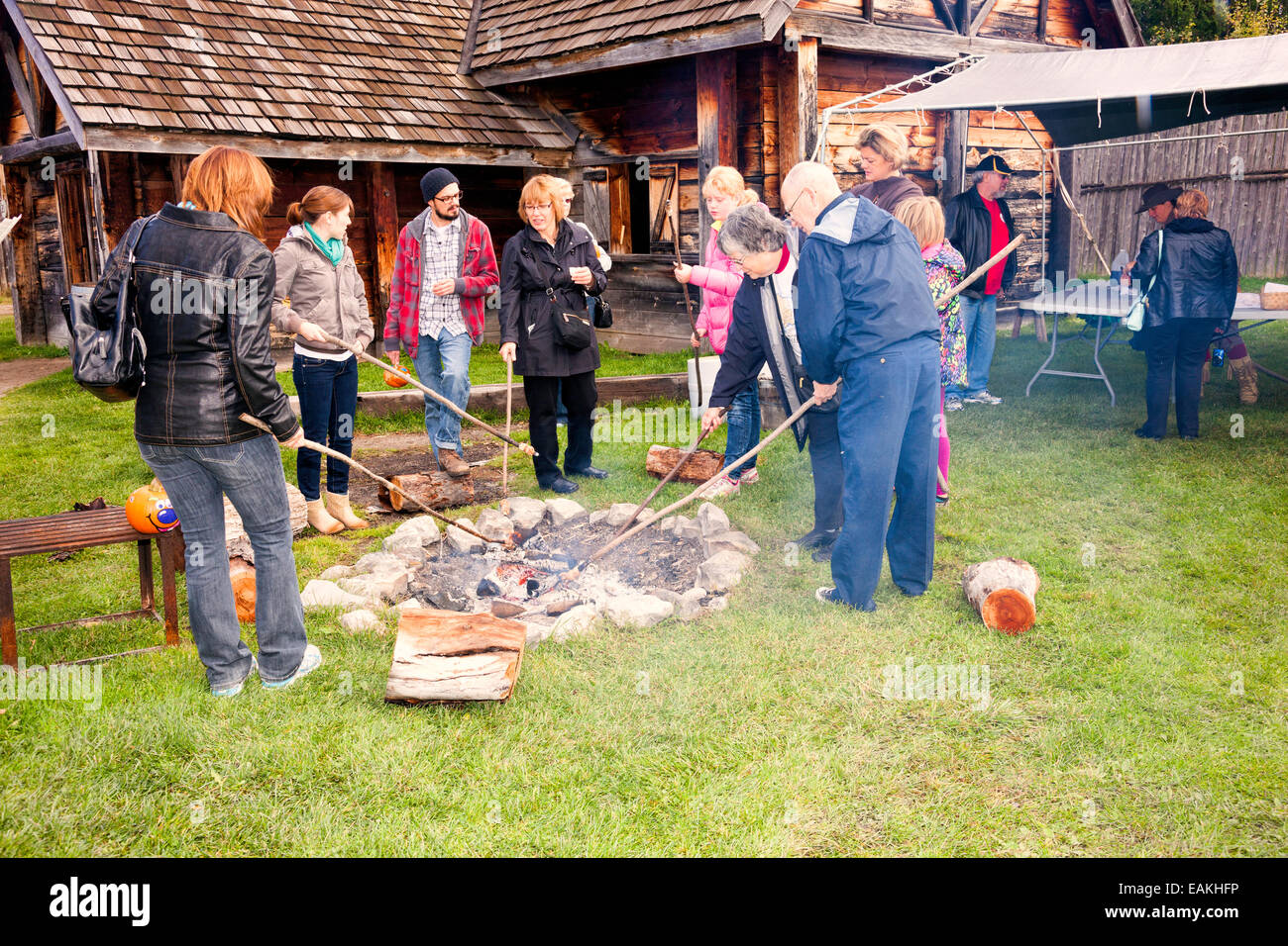 Open fire for marshmallow roast Sainte Marie among the Hurons;Original authentic Native Indian Village in Midland;Ontario;Canada - Stock Image