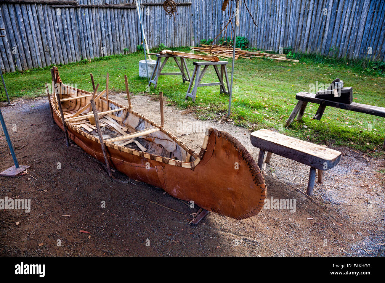 Birch bark canoe at Saint Marie among the Huron;Original authentic Native American Indian Village in Midland;Ontario;Canada - Stock Image