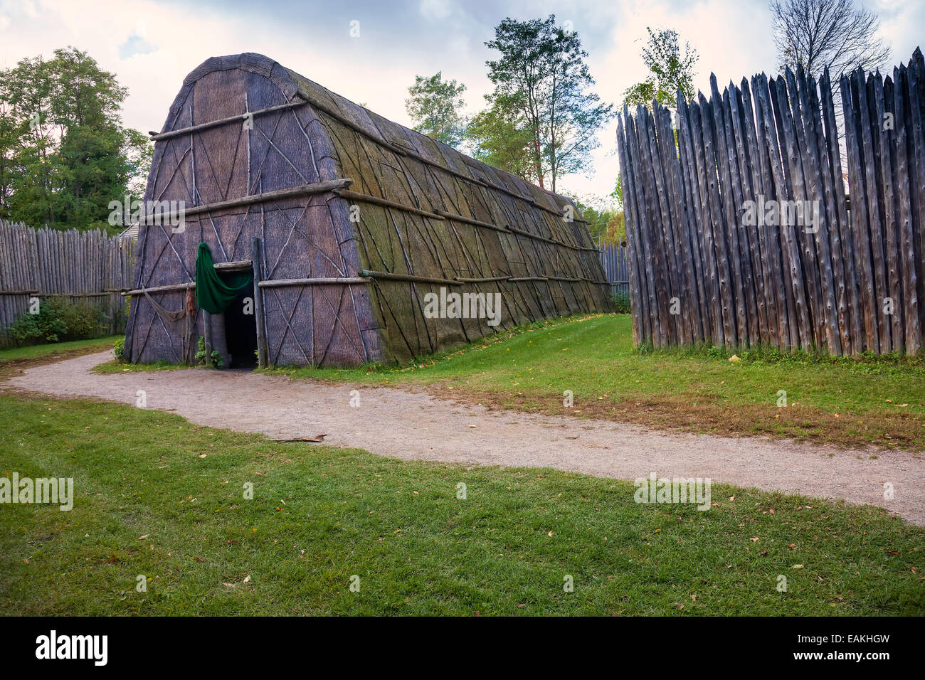 Non-Christian Longhouse at Sainte Marie among the Hurons;Original authentic Native Indian Village Midland;Ontario;Canada - Stock Image