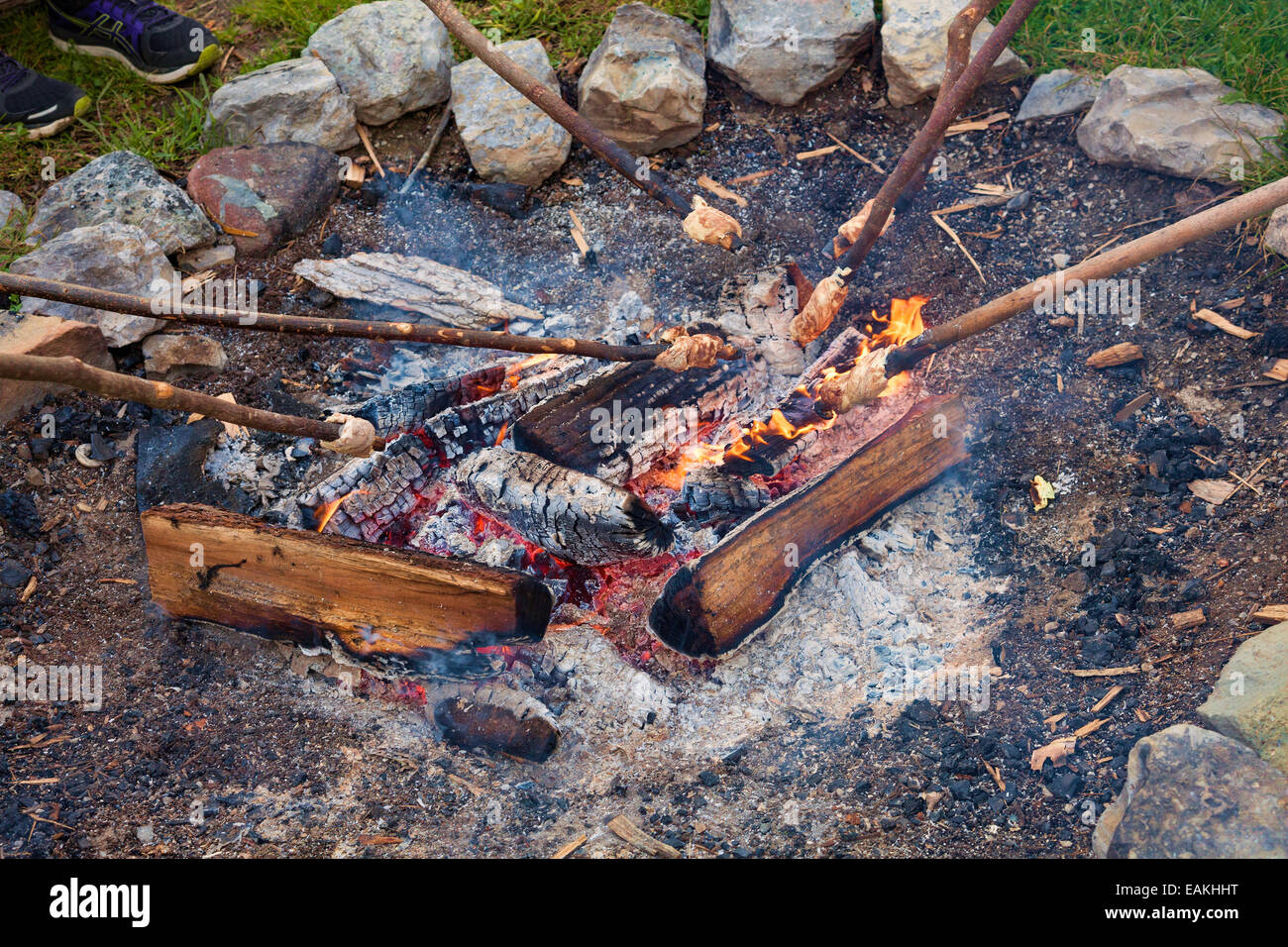 Roasting Marshmallows at Sainte Marie among the Hurons;Original authentic Indian Village in Midland;Ontario;Canada - Stock Image