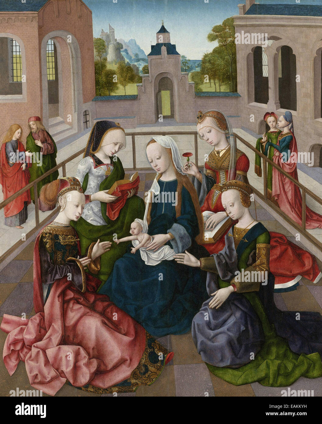 Master of the Virgo inter Virgines  The Virgin and Child with Saints Catherine, Cecilia, Barbara, and Ursula - Stock Image