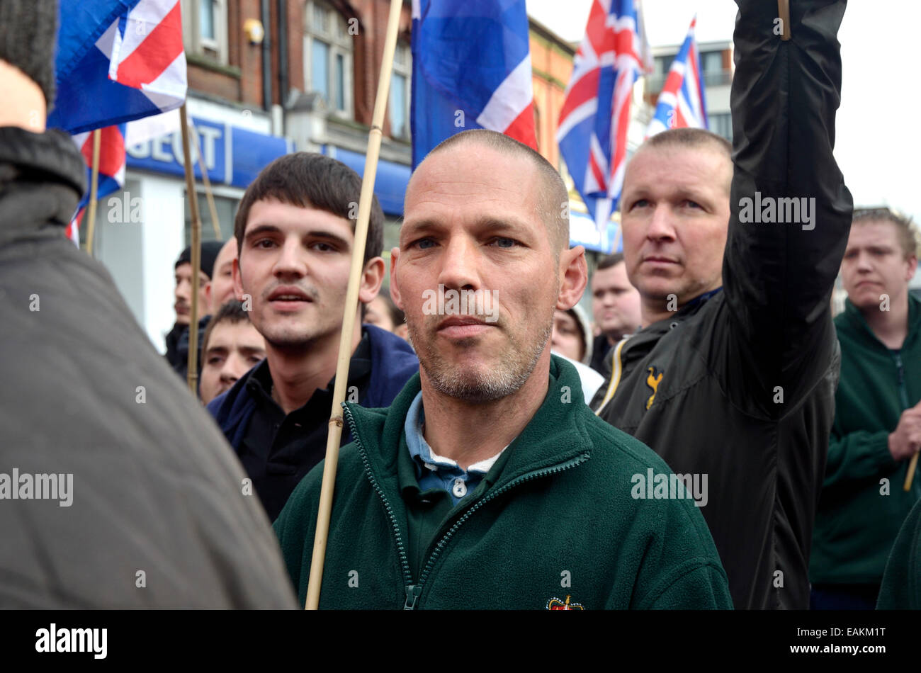 Rochester, Kent, England, UK. Britain First (right-wing political group) march in Rochester ahead of the 2014 by - Stock Image