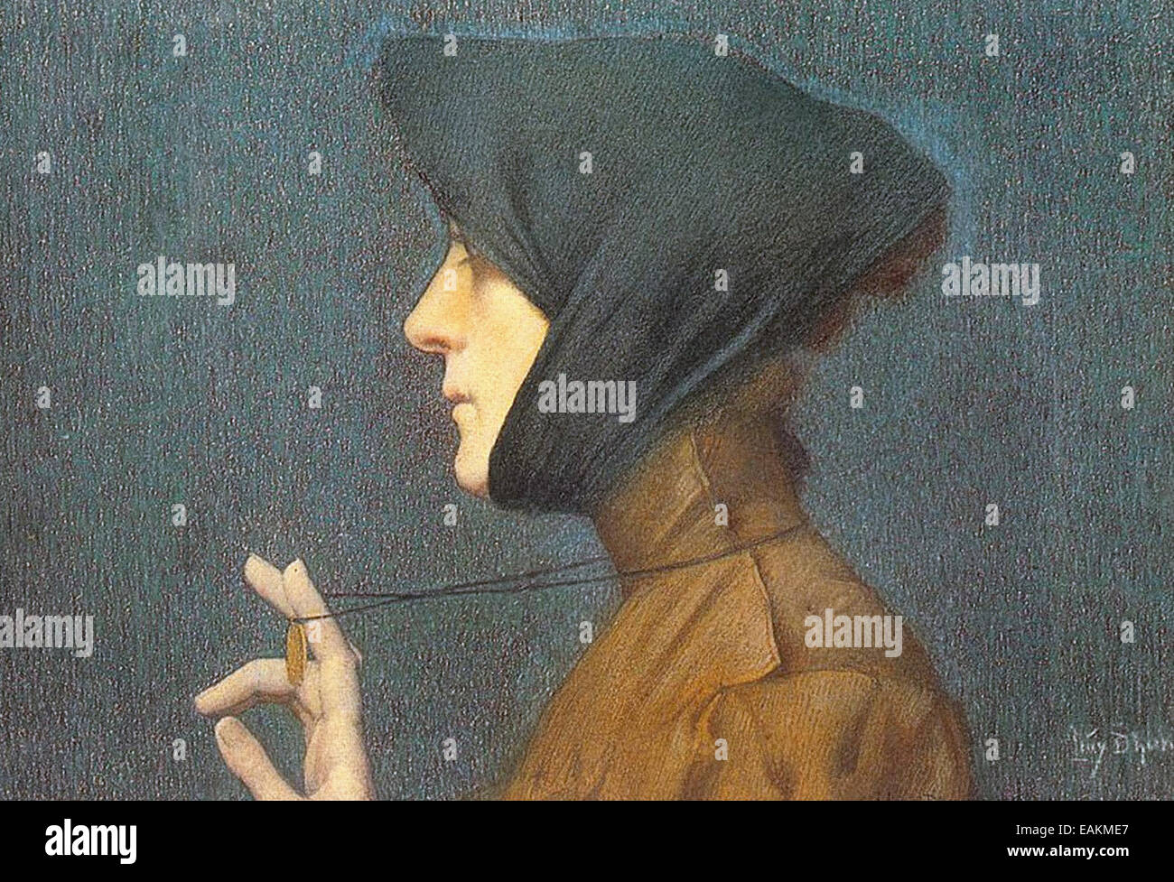 Lucien Lévy-Dhurmer  Woman with a Medallion (Mystery) - Stock Image