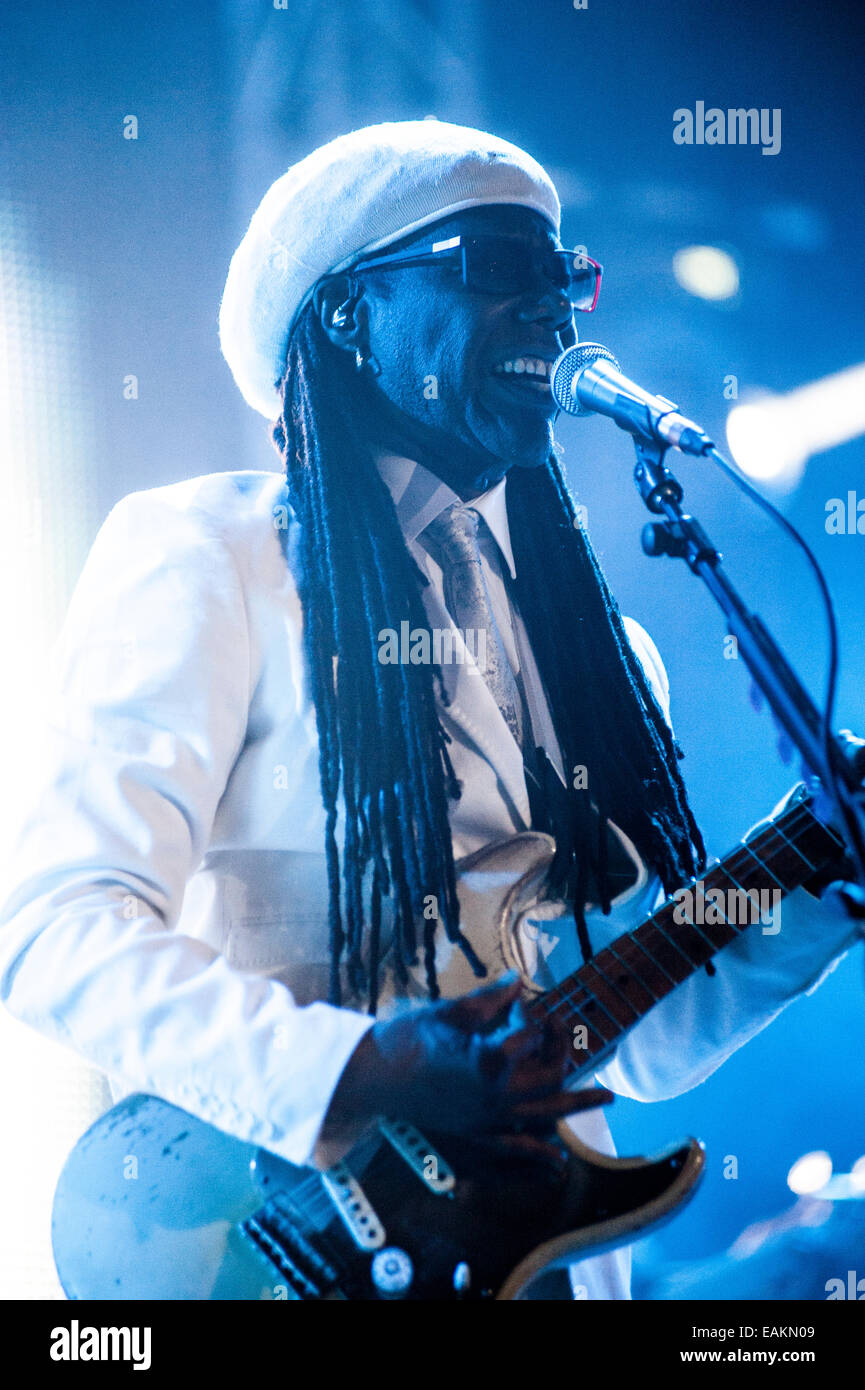 CHIC featuring singer songwriter guitarist Nile Rodgers at a live concert at Unknown festival in Rovinj, Croatia, - Stock Image