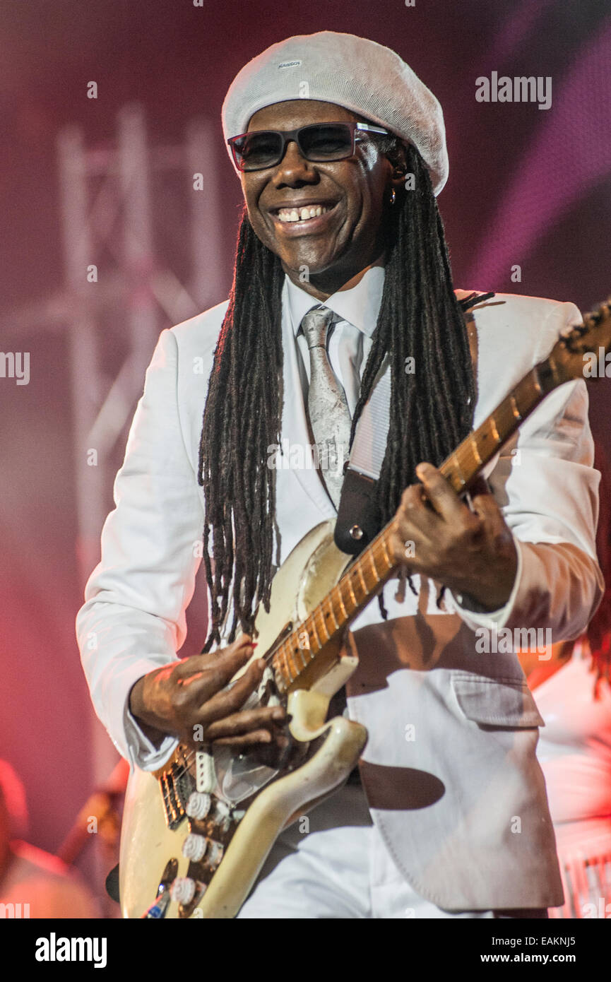 CHIC featuring smiling Nile Rodgers with guitar and sun glasses at a live concert at Unknown festival, Rovinj, Croatia, - Stock Image