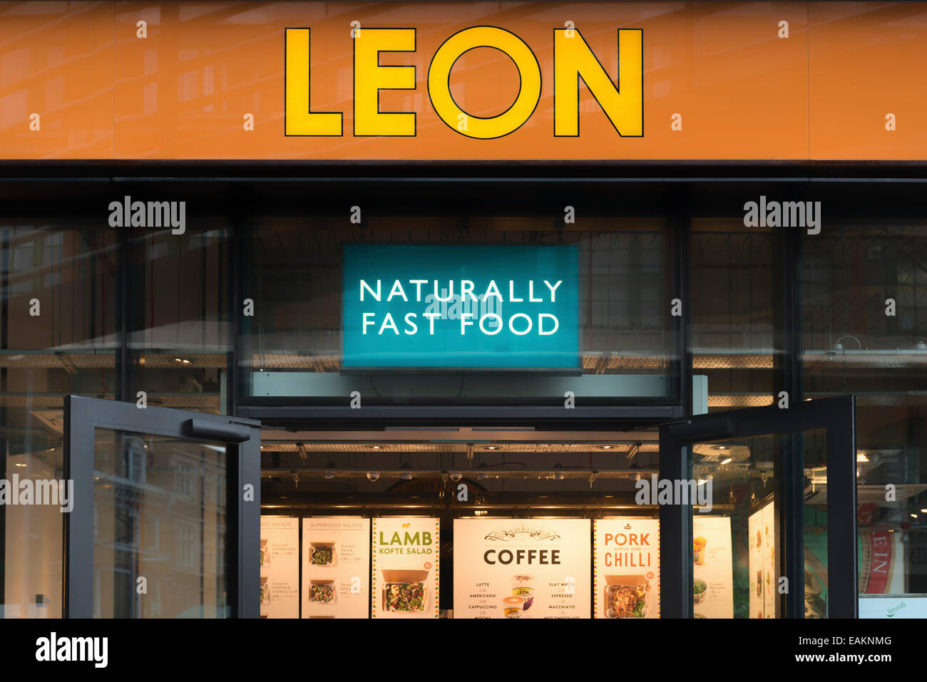 Front Door And Sign At The Leon Restaurant At More London Stock