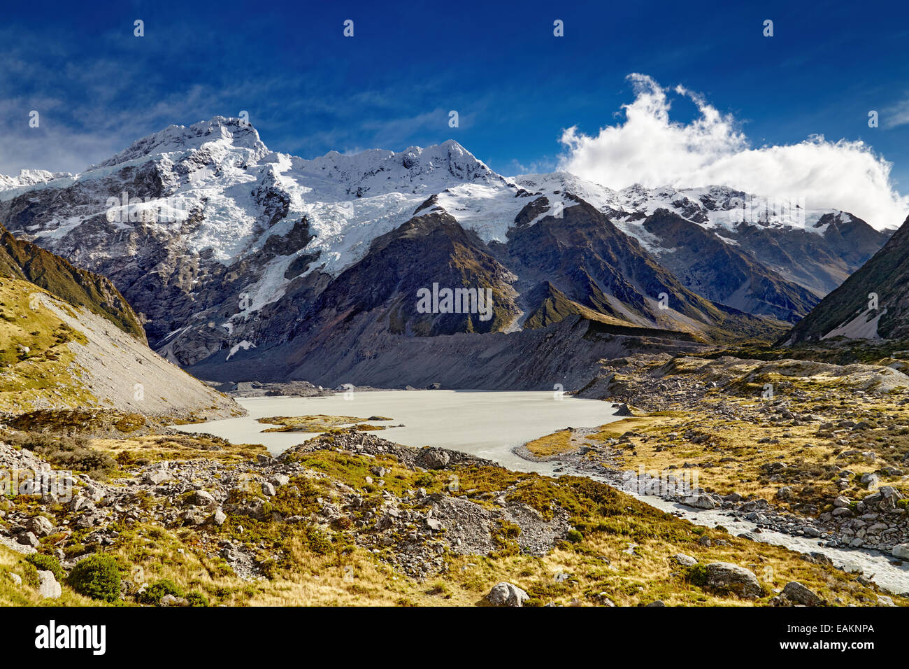 Mount Sefton and Hooker valley, Southern Alps, New Zealand - Stock Image