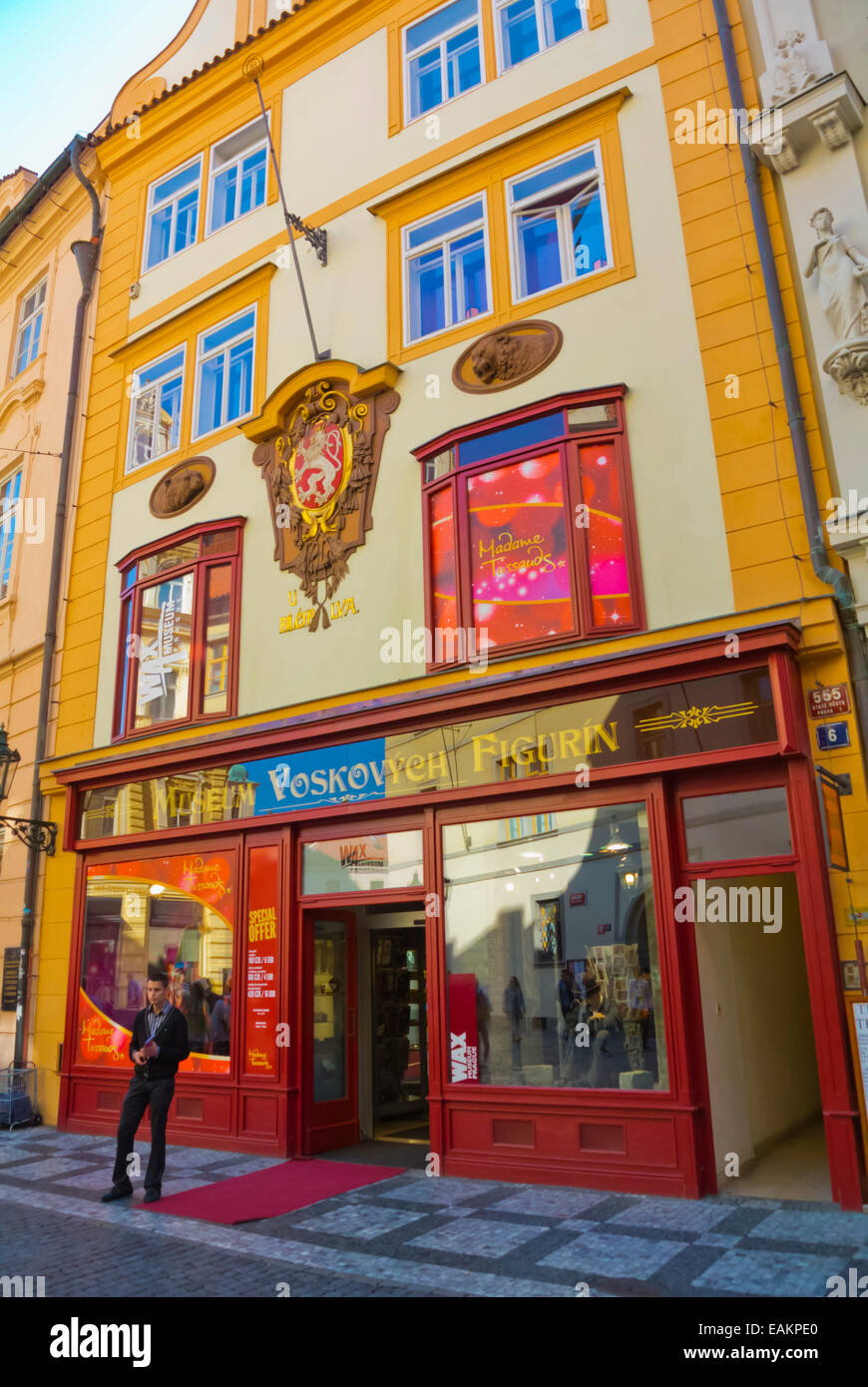 Madame Tussaud, Wax cabinet, Celetna street old town, Prague, Czech Republic, Europe - Stock Image