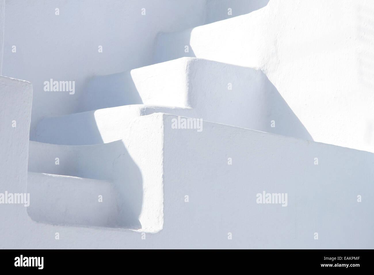 Minimal White Stone Staircase Between Two White Walls Oia Stock