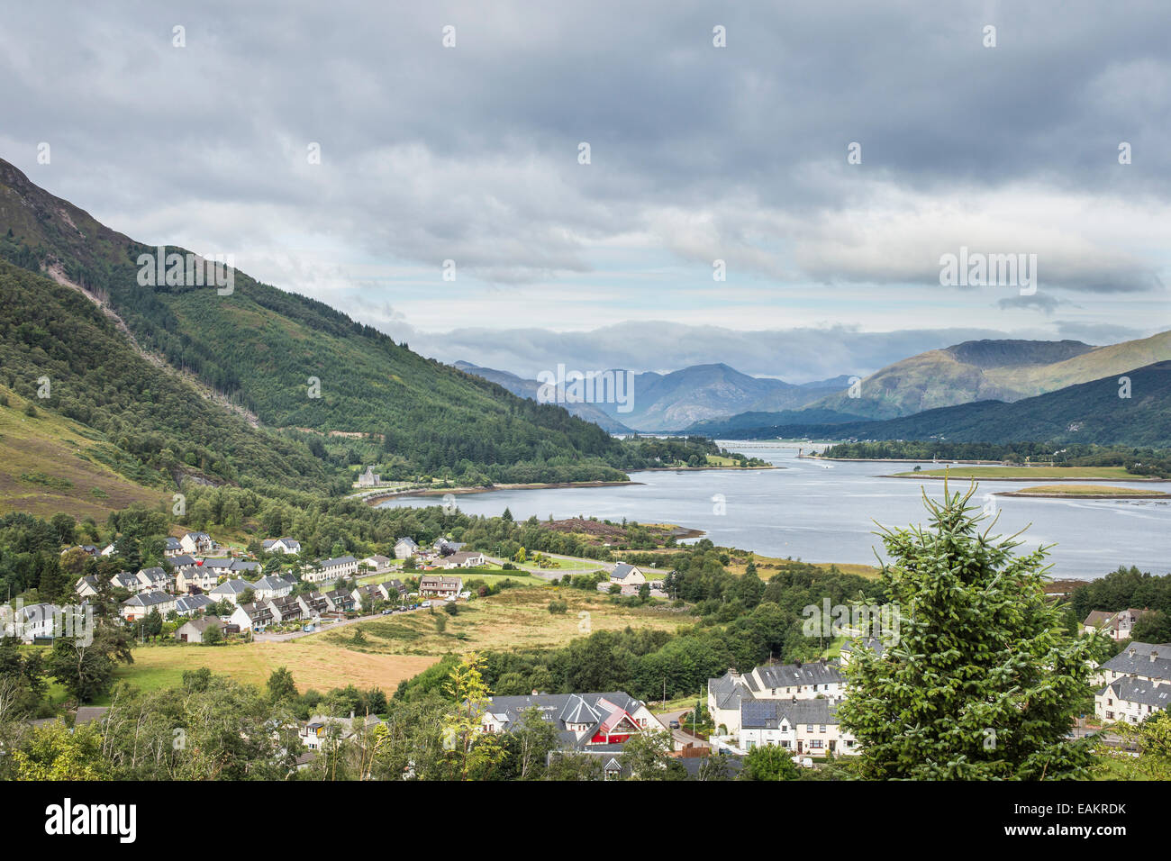 View over Loch Leven & Ballachulish in Lochaber in Scotland. - Stock Image