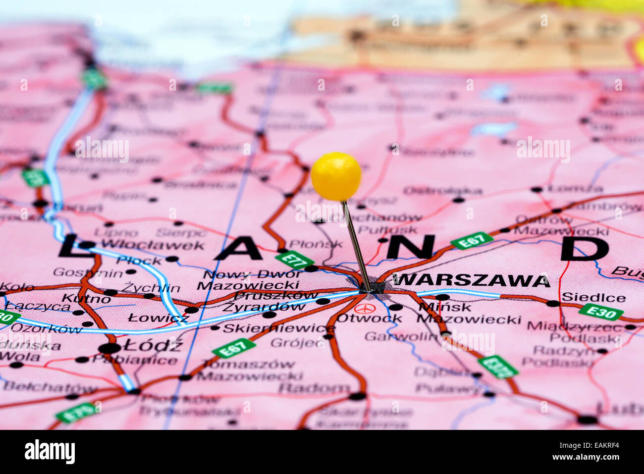 Warsaw Europe Map.Warsaw Pinned On A Map Of Europe Stock Photo 75423576 Alamy