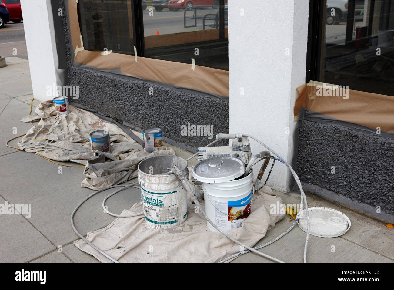 spray paint architectural coating equipment Saskatchewan Canada - Stock Image