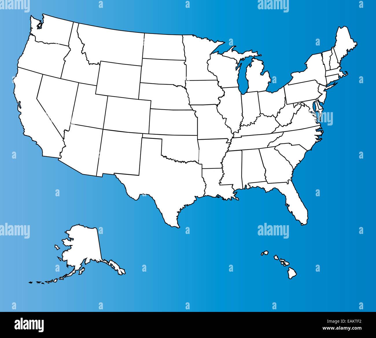 Usa Blank Map State Borders Stock Photos & Usa Blank Map ...