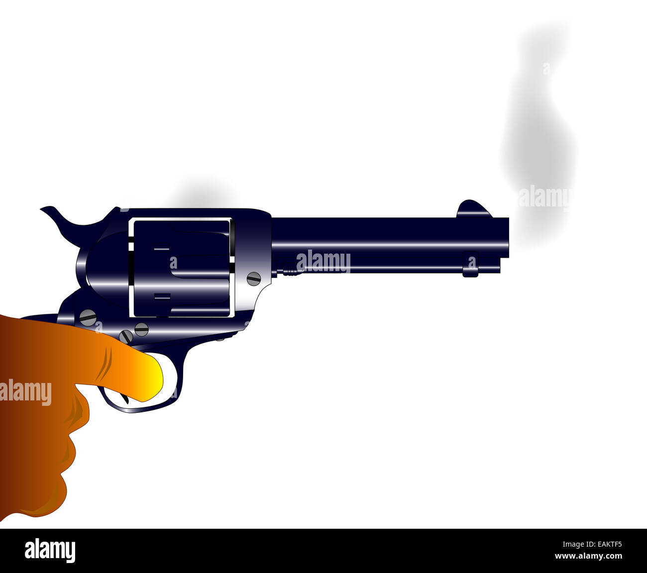 A revolver pistol with rising smoke as recently being fired - Stock Image