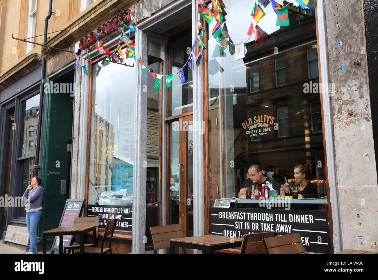 Old Salty's traditional 'chippy', on Argyle Street, on the trendy regenerated 'Finnieston Strip', - Stock Image
