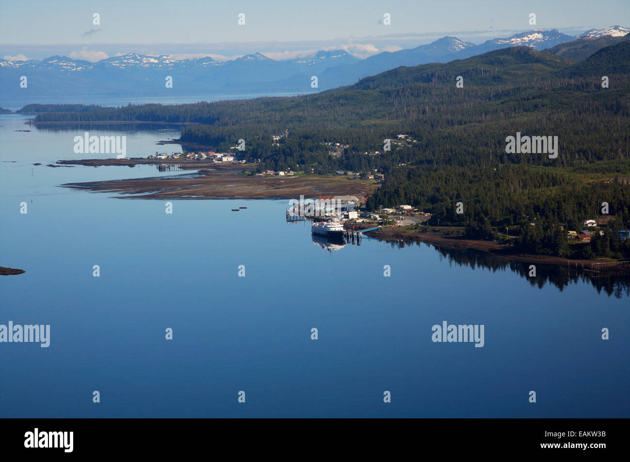 Aerial View Of The Village Of Kake In Southeast, Alaska - Stock Image